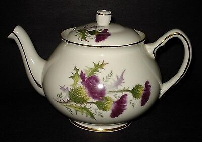 VTG Duchess Bone China HIGHLAND BEAUTY Scottish Thistle TEAPOT Gold Trim ENGLAND