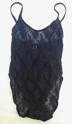 VTG Christian Dior Intimates Sz O/S Small Solid Black Floral Lace Lingerie Teddy