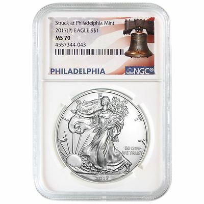 2017 (P) American Silver Eagle NGC MS-70 White Core | Liberty Bell Label