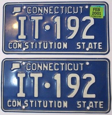 Pair of Matching Connecticut License Plates with 2001 Sticker, IT-192 CT Plates