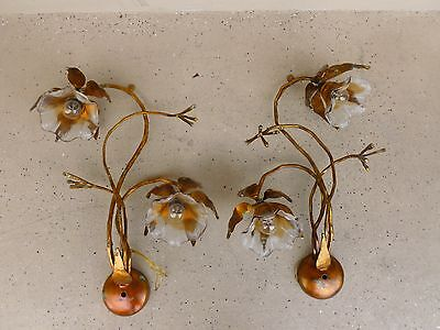 Rare 2 Pairs Of Italian Longobard Murano Art Glass & Wrought Iron Flower Sconces