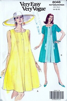 ~ Very Easy Very VOGUE Sewing Pattern 8046 Misses'Petite Dress S 14-18~