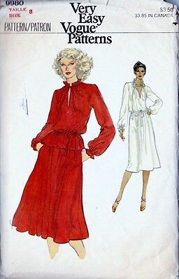 ~Vintage Very Easy VOGUE Sewing Pattern 9980 Misses' Dress, Top & Skirt  Size 8~
