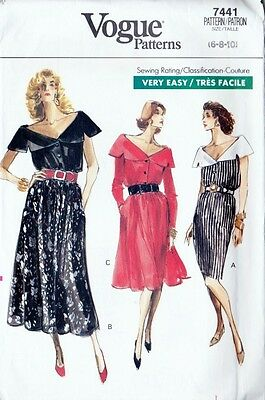 ~Vintage Very Easy VOGUE Sewing Pattern 7441 Misses' Dress Size 6-10~