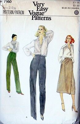 ~Vintage Very Easy VOGUE Sewing Pattern 7160 Pants & Skirt Size 26-1/2~