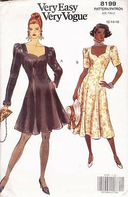~Very Easy VOGUE Sewing Pattern 8199 Fitted Dress UNCUT Size 12-16~