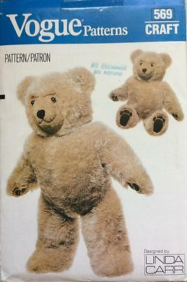 "OOP UNCUT Vogue CRAFTS Sewing Pattern 569 Teddy Bear LINDA CARR 23"" Tall~"