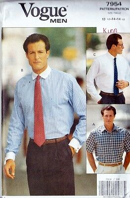 ~ Uncut VOGUE Sewing Pattern 7954 Men's Shirt In 3 Styles Size 13-14 1/2~