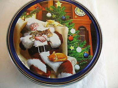 Danish butter cookie  tin Santa with cats pictured
