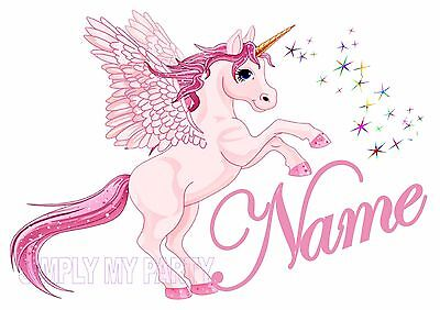 Pink Unicorn With Name - Personalised - Iron On Transfer - For T-Shirt / Sticker