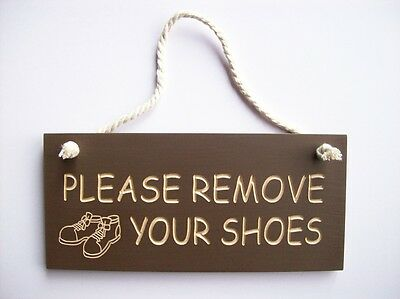 Door Sign Rustic Engraved Wood.'please Remove Your Shoes'