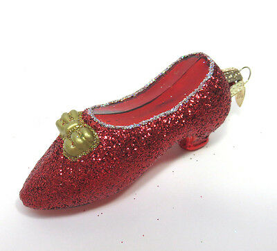 Blown Glass & Glitter Ruby Red Slipper Shoe Christmas Ornament ~ Old World