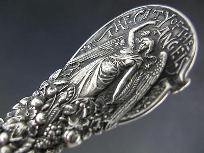 Sterling Souvenir Spoon THE CITY OF ANGELS Mission of San Gabriel LOS ANGELES CA