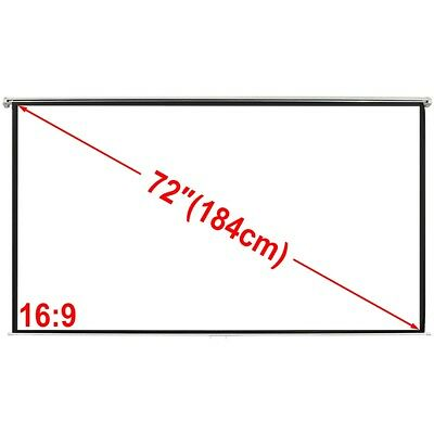 """New Projector Screen 72"""" 16:9 Home Theatre Class Office HD TV Movie Projection"""