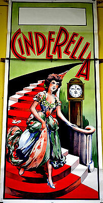 Large Rare Vintage Early 1900's Stone Lithograph Cinderella Theatre Poster 7ft