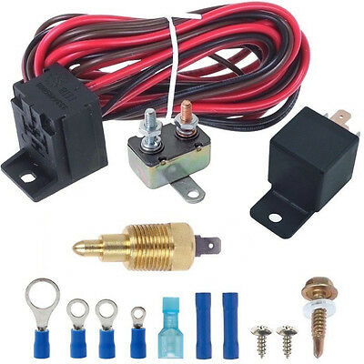 """160'f Degree Electric Fan Grounding Thermostat Relay Switch Kit 3/8"""" Npt Probe"""