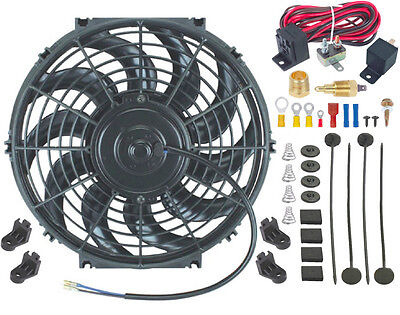 """12"""" Inch Universal Car Electric Fan Motor Cooler 3/8"""" Npt Thermostat Control Kit"""