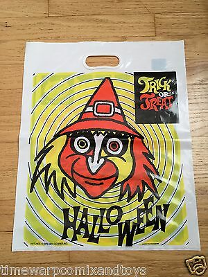 1975 Ben Cooper WITCH Plastic Halloween Trick or Treat Bag UNUSED Store Stock!