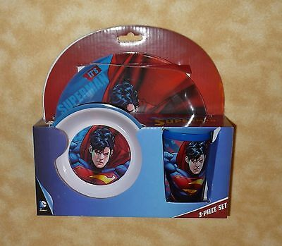 superman 3 piece children's dinner set plate bowl cup NEW!!!