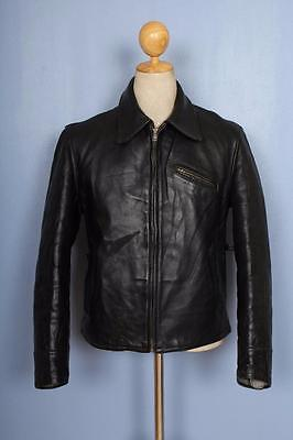 Vtg 1930s HORSEHIDE Leather Half Belt Sports Motorcycle Jacket Small