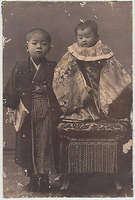 Antique Photo / Two Small Boys / Japanese / c. 1905