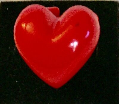 Collectors Costume Red Sweet Heart Ring Size 6 Vintage Lucite Plastic