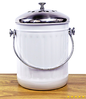 Misc Home Indoor Kitchen Non Stick Stainless Steel Compost Bin, 1.2 Gallon Cont
