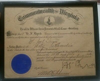 1929 VA Governor Harry F Byrd signed Commission Alexandria Virginia Commonwealth