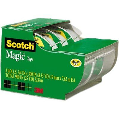"Scotch Magic Tape, Refillable Dispenser, 3/4"" X 300"", 3/p W"