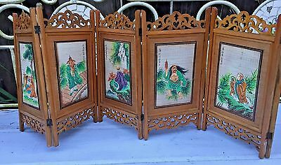 Chinese Asian Table-size Decor Screen 2-sides Art Calligraphy Nature Different