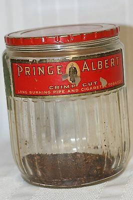 Vintage Prince Albert Glass Cigar Humidor Crimp Cut Cigarette Tobaco Jar
