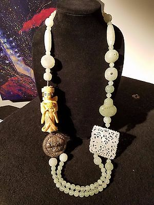 Chinese Silver Jade  Netsuke Carved Bead Necklace