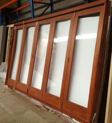 Bifold Stacker Doors, Solid Cedar,top-Hung, Stained, Fully Built, In Stock