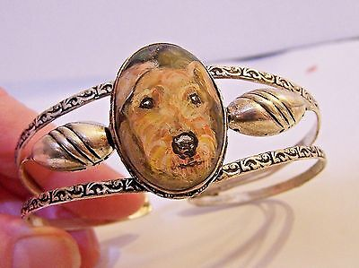 hand painted Airdale Terrier on  semi precious gemstone silver plated bracelet