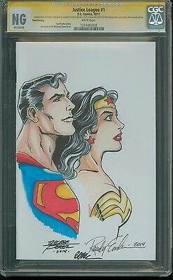 Justice League #1 CGC SS Sketch George Perez, Emberlin (Wonder woman & Superman)