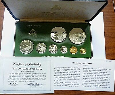 1978 GUYANA - OFFICIAL PROOF COIN SET (8) w/ 2 SILVER CROWNS - 2 Oz - RARE!