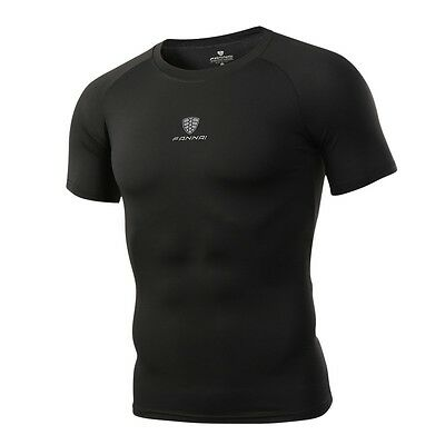 Mens Compression Shirt Athletic Under Baselayer Running Fitness  T Shirt Tee AU