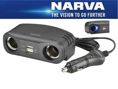 Narva 12V Cigarette Lighter Plug with Extended Lead and Twin Accessory & Twin US