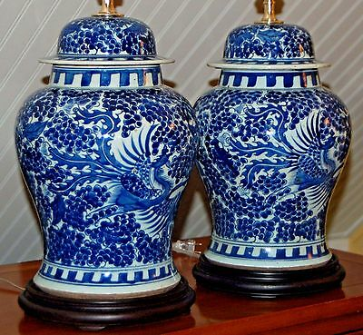 PAIR Chinese Blue & White Phoenix Ginger Jars LAMPS Vases Fenghuang Hoho Ho-o