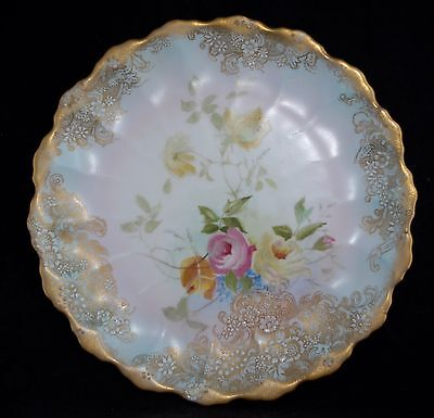 c1892-02 Antique Hand Painted Roses DOULTON BURSLEM C4673 Plate 22cm