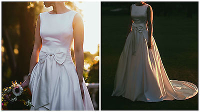 Satin Wedding Bridal Dress Gown Low Back & Front Bow - Size 8 - White Ivory