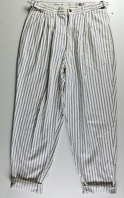Vintage 70s High Waist Pin Stripe Pants  Wide Leg Tapered  Bottom WHITE BLUE