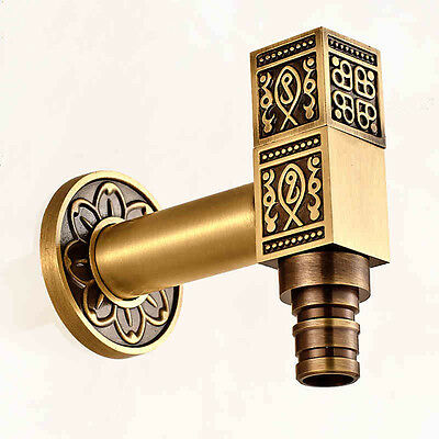 Antique Brass Carved Washing Machine Tap Single Cold Water Laundry Sink Faucet