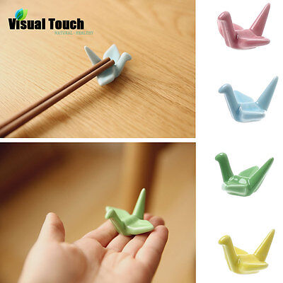 Origami Ceramic Chopsticks Holder Chopsticks Stand Rack Spoon Fork Rest 4 Colors