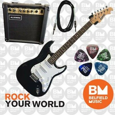 Beginner Electric Guitar Pack Gang Electric Guitar, Auswin G15 Amp, USA-3 Cable