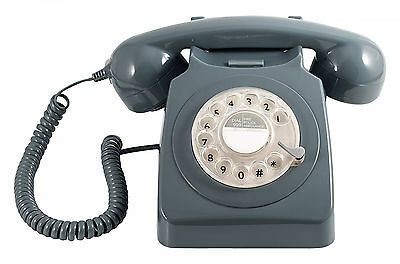 Telephone Retro Vintage Style Desk DECT Corded Phone Working Rotary Dial Grey