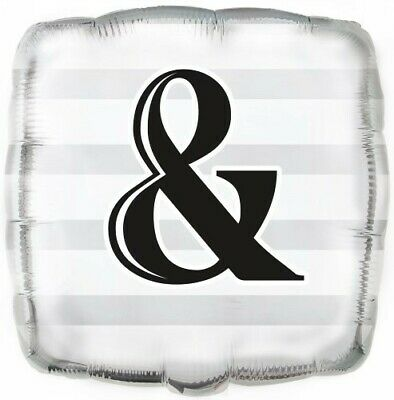 & (Ampersand) Square Silver 18in. Foil Balloon Pk 1