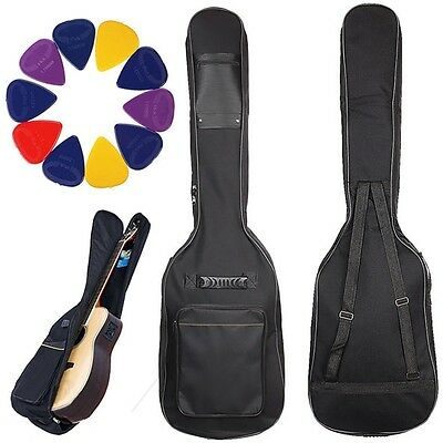 Double Straps Padded Electric Bass Guitar Bag Soft Gig Backpack with 10 Picks