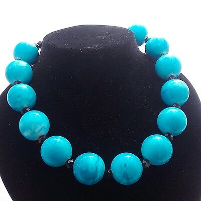 Vintage - Turquoise Blue Acrylic Bead - Power Statement Necklace