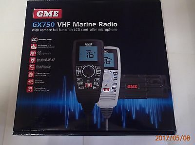 Gme Gx750 Vhf Marine Radio With Remote Lcd Controller Brand New